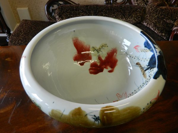 White Handmade Porcelain Bowl with Free Hand Painted Water Lily