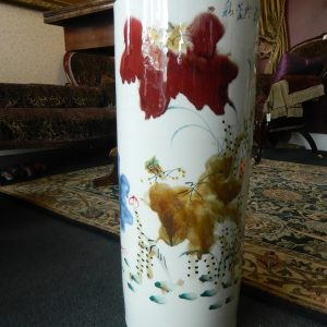 Tall Vase Porcelain with Free Hand Painted Red Water Lily