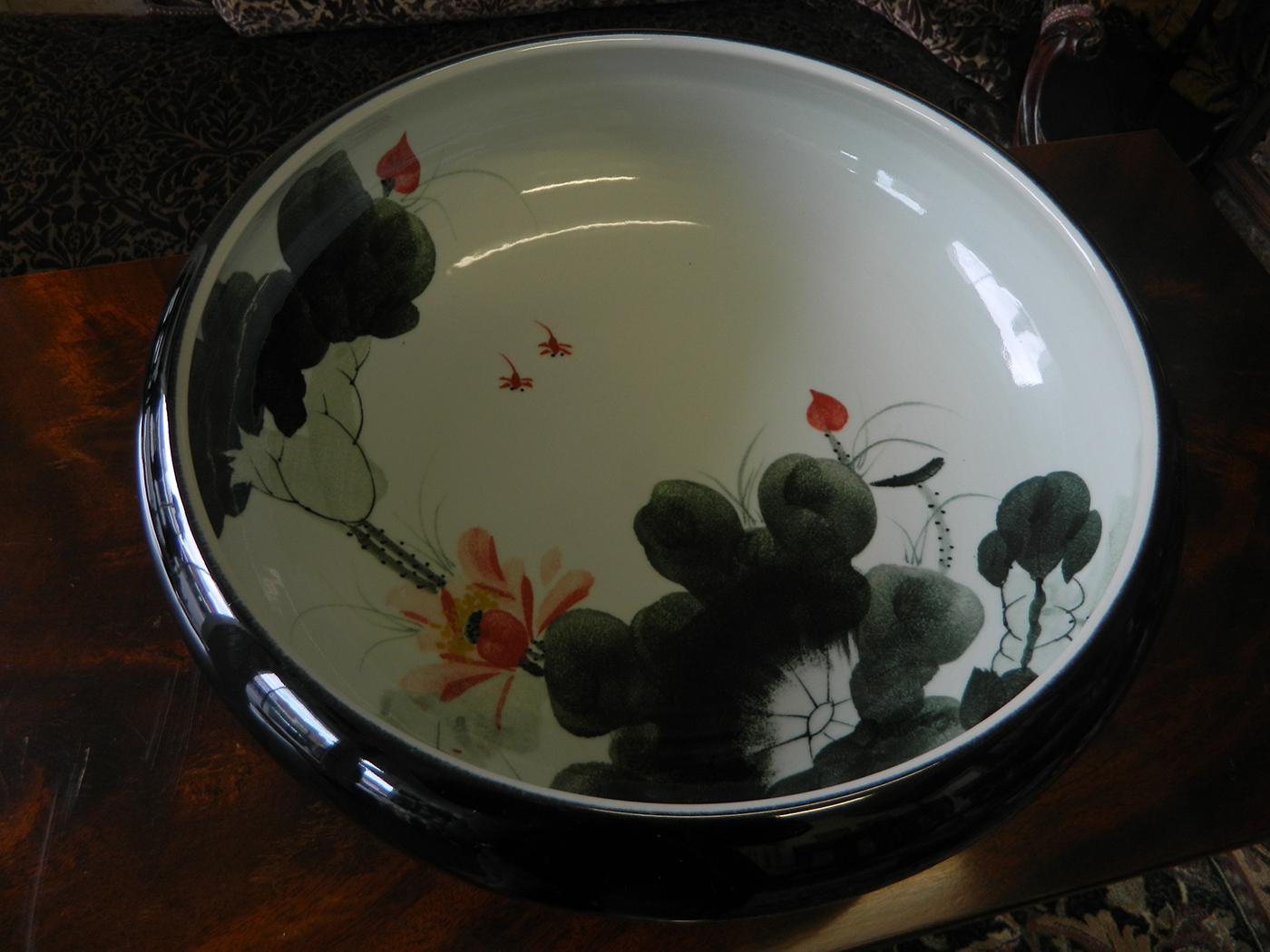 black handmade porcelain bowl