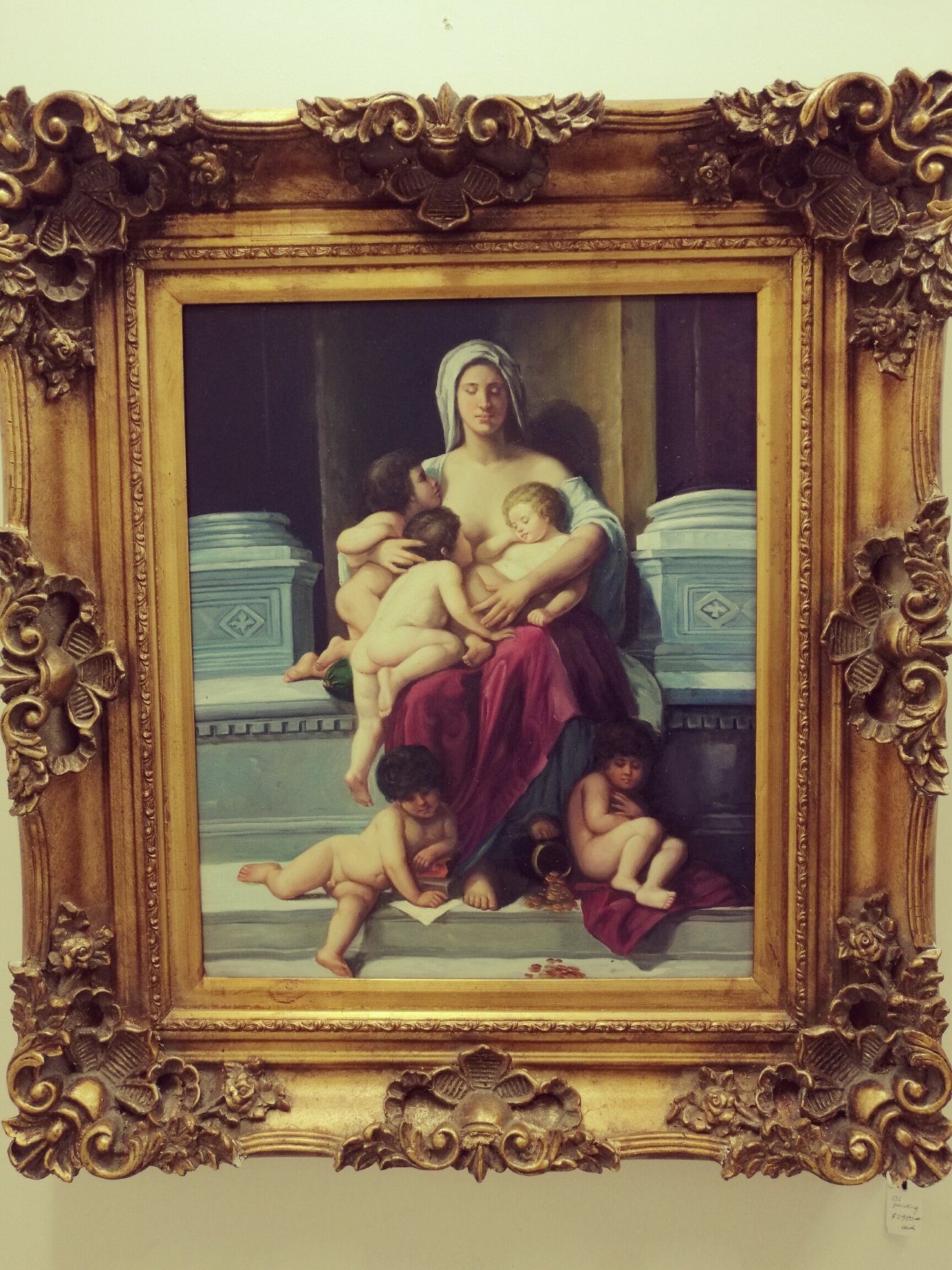 mother with 5 kids painting