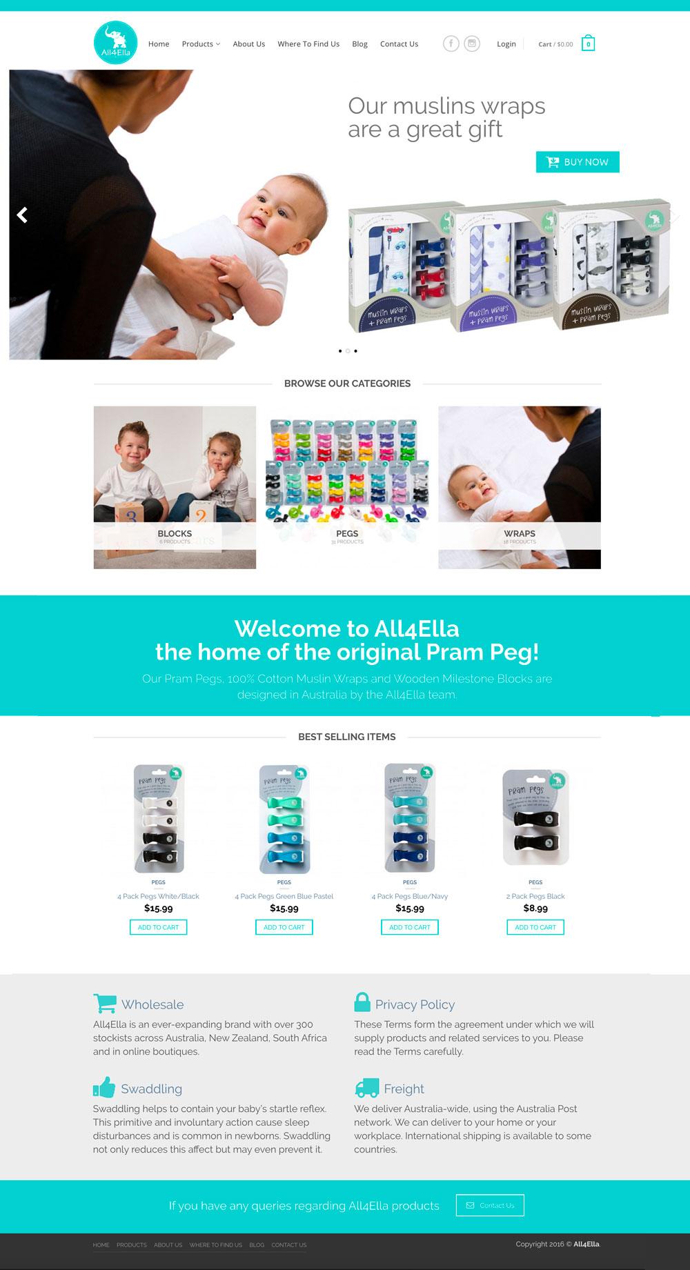 All4Ella Website UI Layout