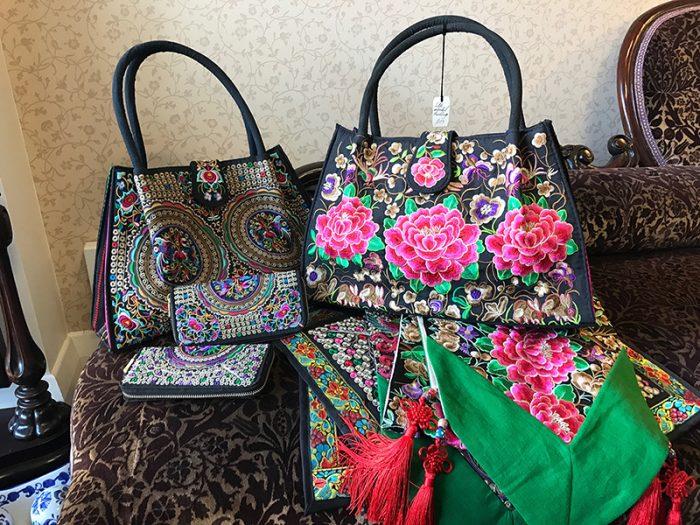 floral suede designer's bag
