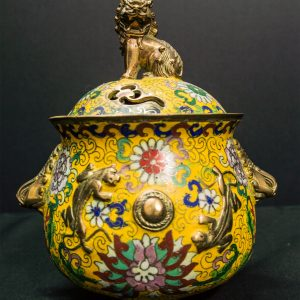 Cloisonne Brass Yellow Incense Burner with Lid