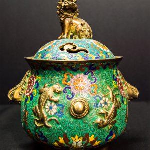 Cloisonne Brass Green Incense Burner with Lid