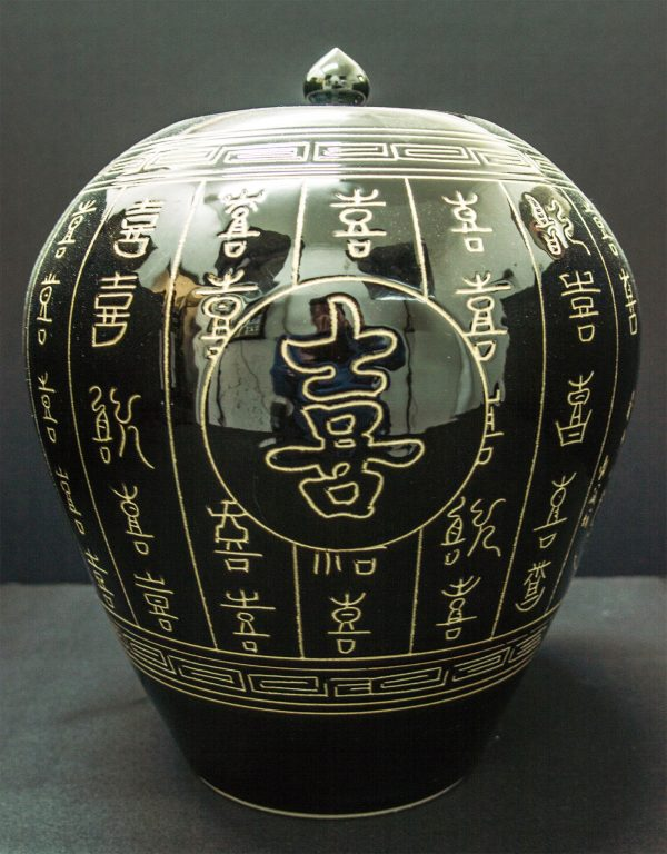 Happiness Chinese Characters Black Porcelain Vase