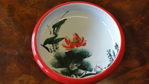 Handmade Porcelain Red Bowl with Free Hand Painted Water Lily Inside
