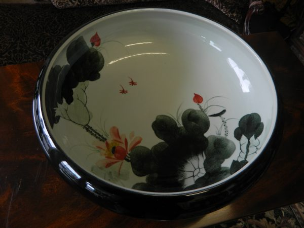 Black Porcelain Bowl with Water Lily Inside Handmade