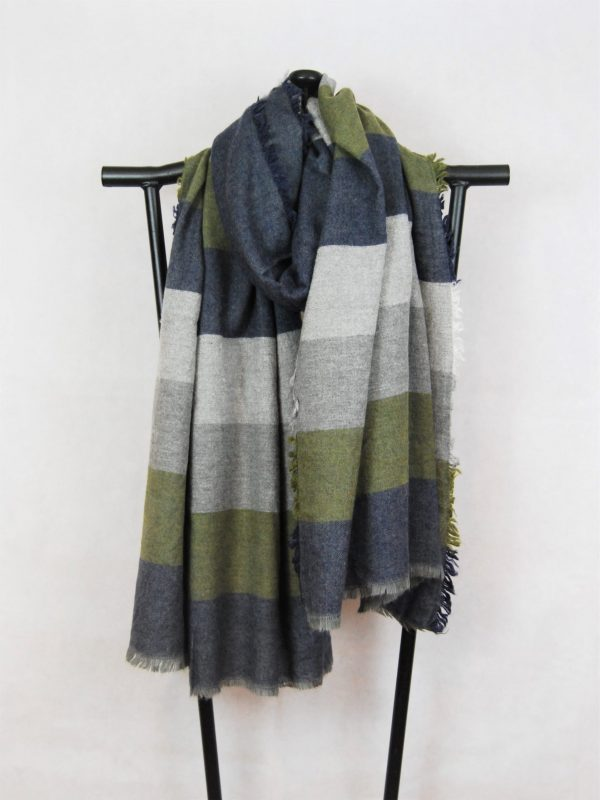 Woven Winter Scarf with Large Stripe Design of white, grey, blue and green