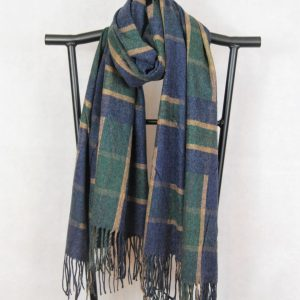 Wide Woven Winter Scarf with Large Check Design (Mustard, Green, Blue)