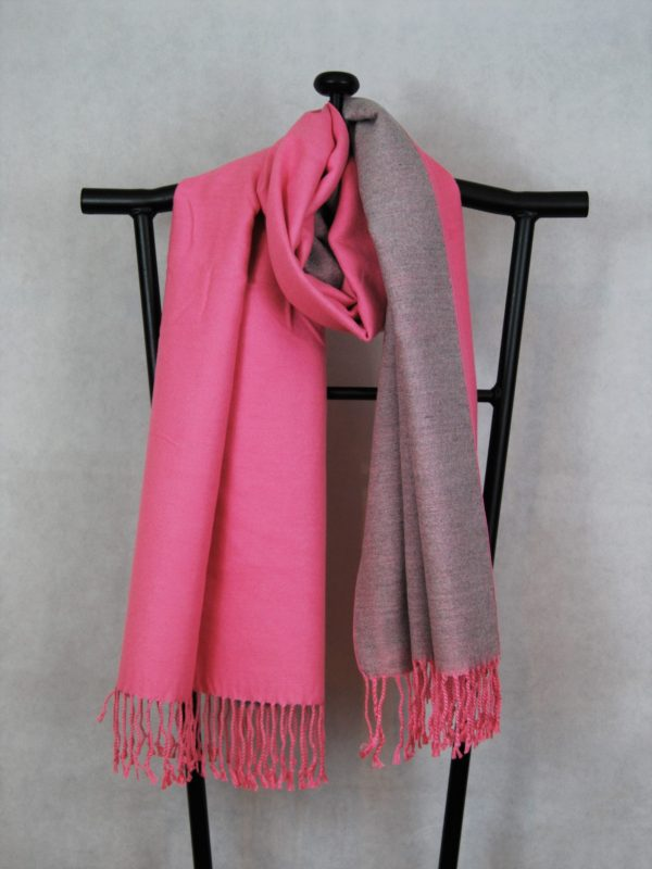 Two Tone Heavy Winter Scarf with Fringe Hem light pink and grey