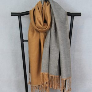 TWO TONE HEAVY WINTER SCARF WITH FRINGE HEM (Camel and Grey)
