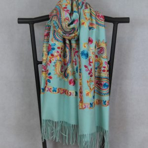 Aqua Persian Winter Scarf with Paisley Pattern for Women