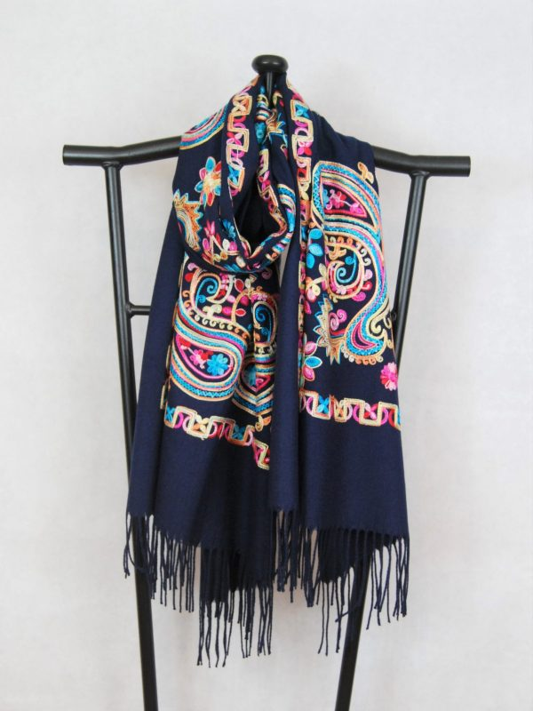 Dark Blue Persian Winter Scarf with Paisley Pattern Embroidery for Women