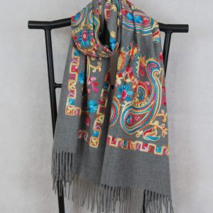 Gray Persian Winter Scarf with Paisley Pattern Embroidery