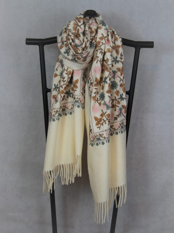 Cream Persian Style Winter Scarf with Tudor Pattern Embroidery for Women
