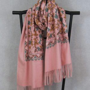 dusty salmon persian design winter scarf for women