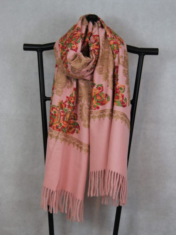 Dusty Salmon Persian Winter Scarf with Damask pattern