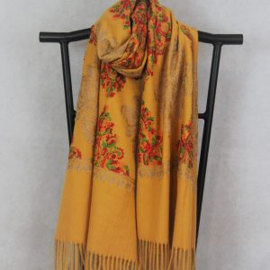 Persian Winter Scarf Mustard with Damask Pattern with golden thread