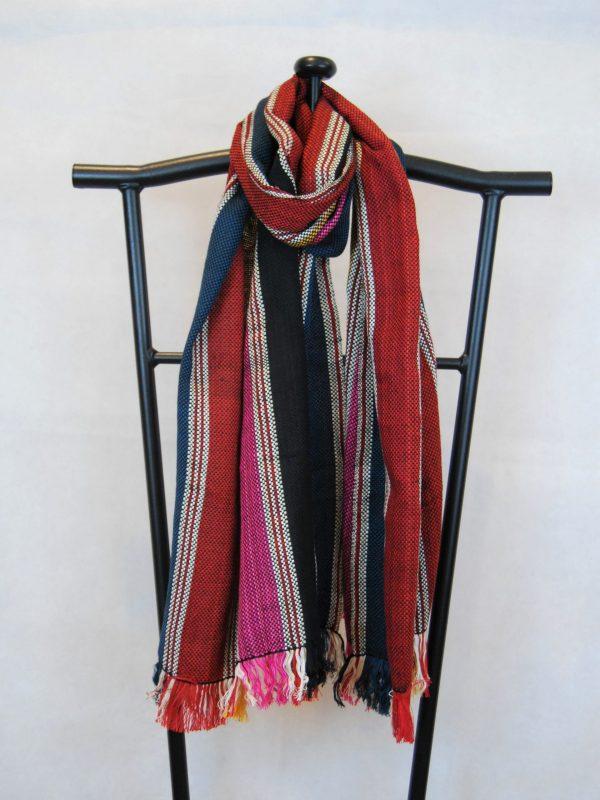 Shangri-La Hand-Woven Organic Light Cotton Scarf (Green, Black, Pink, Yellow, Red)
