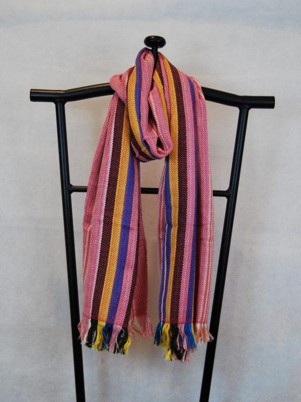 Shangri-La Hand-Woven Organic Light Cotton Scarf (Salmon, Yellow, Black and Blue)