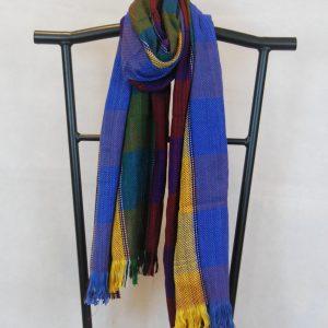 Shangri-La Hand-Woven Organic Light Cotton Scarf (Burgundy, Blue, Yellow and Green)