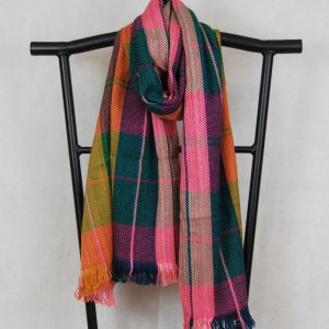 shangri-la scarf for women in multi color patterns salmon, green and mustard