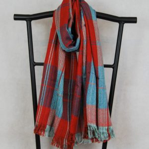 Red and Aqua Shangri-La Hand-Woven Organic Light Cotton Scarf