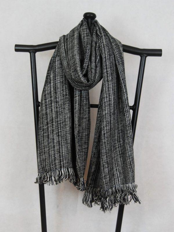 Shangri-La Hand-Woven Organic Light Cotton Scarf (Black and White)