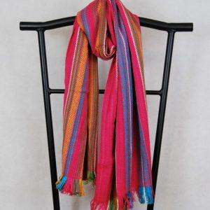 Shangri-La Hand-Woven Organic Light Cotton Scarf (Pink, Green, Mustard, Aqua)