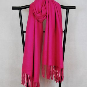 Hot Pink Classic Wide Winter Scarf with Fringe Hem
