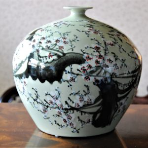 handmade green porcelain vase with free hand painted cherry blossom