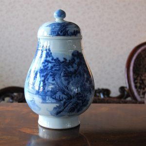 Handmade Blue Porcelain Bowl with Hand Painted Art