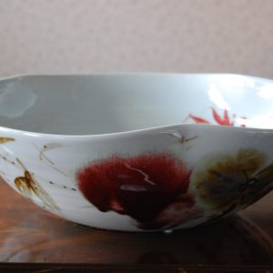 Handmade Porcelain Bowl with Red Lily Design