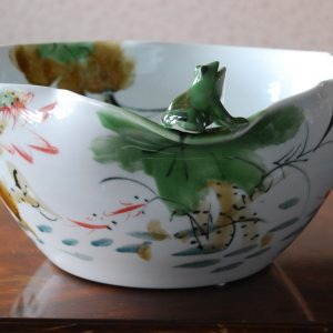 Handmade Porcelain Bowl with Free Hand Painted Water Lily and a Frog