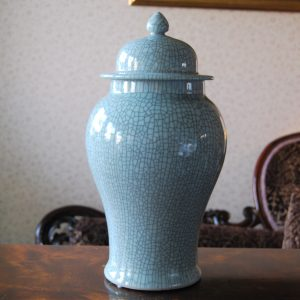 Handmade Porcelain Crackle Finish Tall Bowl with Lid