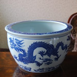 Handmade Porcelain Tall Bowl with Free Hand Painted Dragon