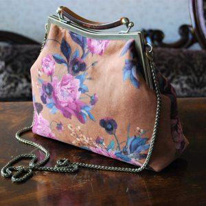 Peach Floral Handbag Retro Suede