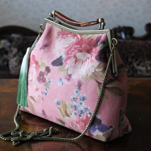 floral pink handbag for women with green tassel