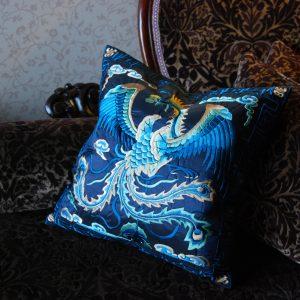silk embroidery blue phoenix cushion throw pillow